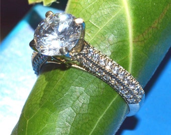 3.50cts Round Briliant cut Moissanite Diamond Solitaire engagement ring in Solid 14k White gold