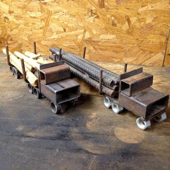 Items Similar To Log Truck Metal Art Sculpture On Etsy