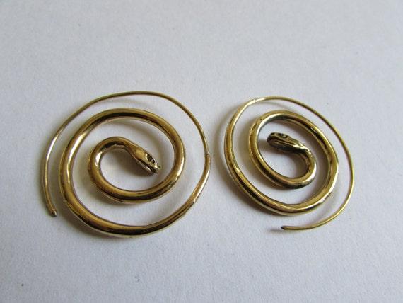 Spiral Brass Snake Earrings handmade, Tribal Earrings, Nickel Free, Tribal Jewellery, Gift boxed,Free UK postage BG7