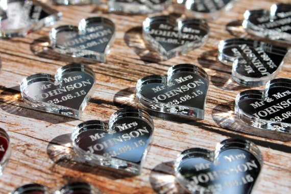 Personalised Love Heart Wedding Table Decoration Mr & Mrs Favours