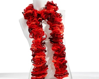 Hand Knit Ruffle Scarf in Salsa- In Shades of Bright Orange, Dark Orange/Brown and Peach.