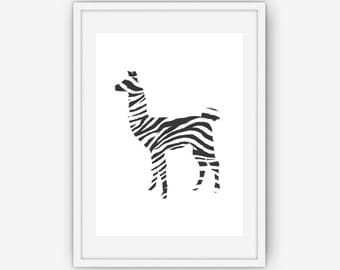 Black and White Llama Zebra Print, Llama Wall Art, Black and White Print, Home Decor, Wall Art, Printable, Instant Download