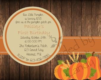Pumpkin Patch Birthday Party Invitation 5x7