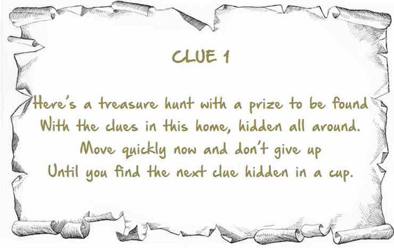 Indoor Treasure Hunt Clues Printable Instant By