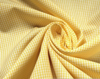 Fabric pure cotton little Vichy check yellow white 1.5 mm