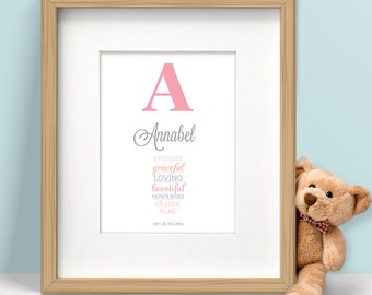 Personalised New Baby Gift, Birth Announcement Print, Customisable Nursery Art