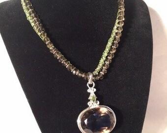 Stunning Smokey Quartz and Peridot Necklace