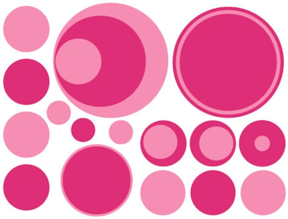 36 Pinks Dark and Light Vinyl Polka Dots Bedroom Wall Decals Stickers Teen Kids Baby Nursery Dorm Room Removable Custom Made Easy to Install