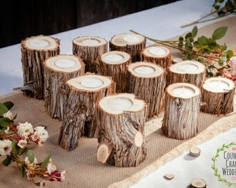 25 Juniper Log Candle Holders ~ Rustic Wedding Candles, Country Wedding Candles, Wedding Table Centerpiece, Log Candle Holder, Rustic Decor