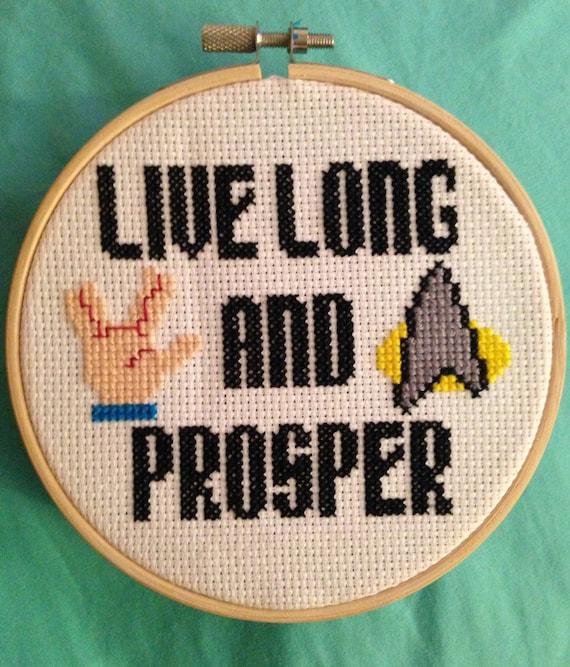 Star Trek Cross Stitch Live Long And Prosper