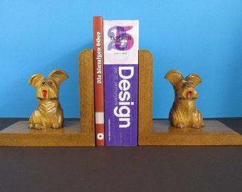 Vintage Buchstützen aus Holz, Terrier / Mid Century / wooden book ends, scottish terrier, scottie dog, bookends, hand carved