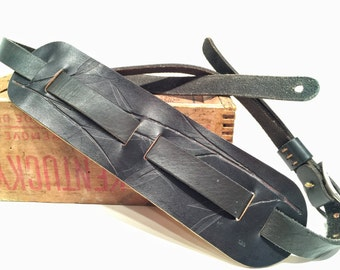 Guitar Strap Fender Style Black Leather w Bamboo Leaf Design