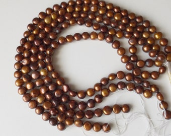 "Chocolate Coin Fresh Water Pearls 15""  ( #J952)"