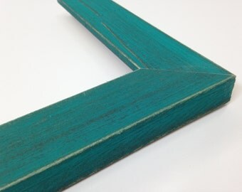 TURQUOISE / TEAL Rustic Wood Picture Frame, Reclaimed Distressed Wood, 3x5, 4x6, 5x7, 8x10, 11x14, 16x20, 18x24, 24x36 + Custom Frame Sizes