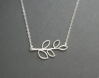 Silver Branch Necklace, Wedding Necklace, Bridesmaids Necklaces, Sterling Silver, Women Necklace