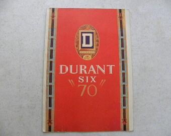 """1929 Durant Six """"70"""" Antique Car Sales Brochure"""