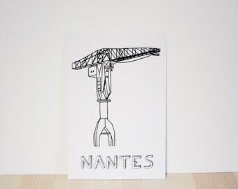 Map postal crane Titan of the city of Nantes coloring
