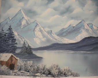 "16"" x 20"" wintertime hut original landscape oil painting"