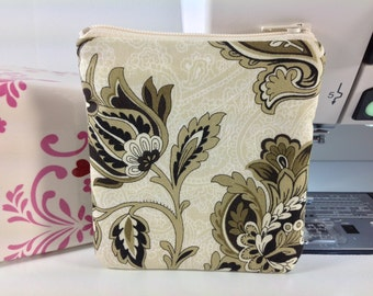 Coin Purse, Square Business Card Case, FREE Charm, Taupe, Gold Flowers on an Ivory Background
