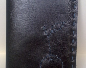 Leather Card Holder. Wallet. Hand made. Stitched Cherry design. Hand stitched. Leather outer and leather lined.