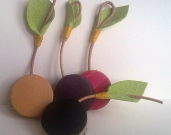 Leather Cherry Brooch. Hand made. Hand painted leather.