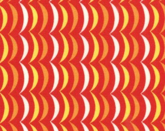 Apple Jack Orange Yellow and White Scallop Stripe on Red by Tim and Beck for MODA - 39516-18 Red