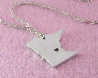 I heart Minnesota Necklace, Custom Minnesota Necklace, State Map Jewelry, Personalized Pendant , Silver Map Pendant, Valentine's gift