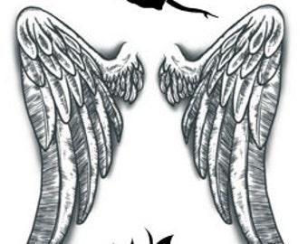 Angel Wings Temporary Fake Tattoo Bold Body Art Transfer Waterpoof Fancy Dress