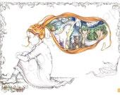 "Fantasy Art, Fantasy Art Print, Fantasy Wall Art, Giclee Fantasy Print, Original Fairy Tale, Fairy Tale Art, Whimsical Illustation,""Monarch"""