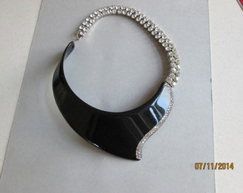 BOZART (ITALY)  stunning choker necklace with rhinestones 1990's.