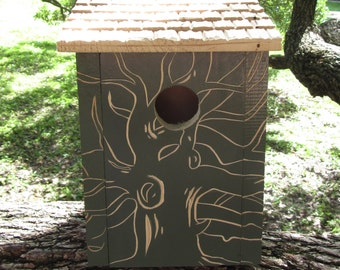 Hand Carved Tree Birdhouse