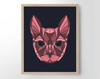 Popular items for geometric cat on etsy for Minimalist gifts for housewarming