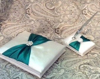 Wedding guest book ivory or white