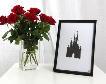 Disney Cinderella's Castle Silhouette Framed Picture