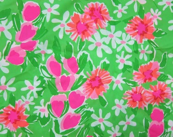 "1 Yard 36"" x 56"" New Lilly Pulitzer Cotton Poplin Fabric "" Green Everything Nice """