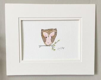 Pink owl painting // Baby girl nursery wall art // Nursery owl art // Original watercolor painting //