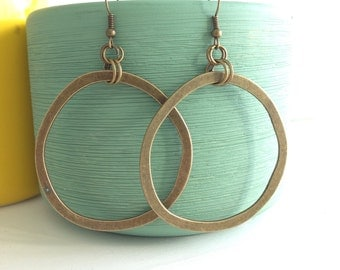 Big antique bronze hoop dangles, boho, bohemian