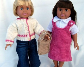 Back to School Outfit, PDF Knitting Patterns for 18-Inch Dolls,  Immediate Download, Fit American Girl Dolls