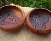 3 Vintage Carved in Flower Motif Wooden  Bowls Set