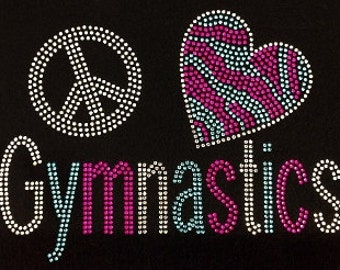 Peace, Love, and Gymnastics Bling Shirt