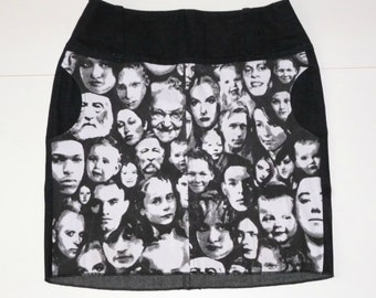 Jeans skirt with faces print, black white, print, pockets, size EU 40 (USA 10 - UK 12), jeans, cotton, zipper