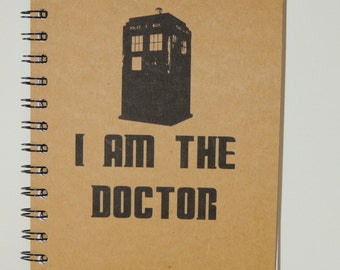 Dr Who Notebook, Tardis, Dr Who Journal, Journal, Notebook, gift, Dr Who, Diary, Fandom, Sketchbook, I am the Doctor, Dr Who Gift