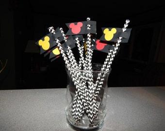 Mickey Mouse Straws - Disney Birthday Decor - Set of 10