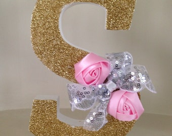 Glitz gold and pink freestanding wooden letter S