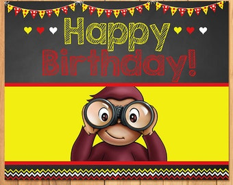 Curious George Birthday Sign Chalkboard * Curious George Birthday * Curious George Sign * Curious George Favors