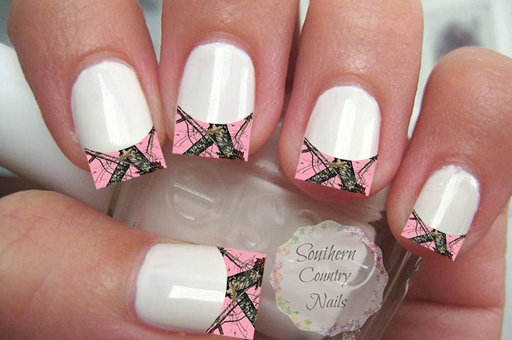 Today Live Sports Pink Camo French Tip Nail Art Decals Decal Nail