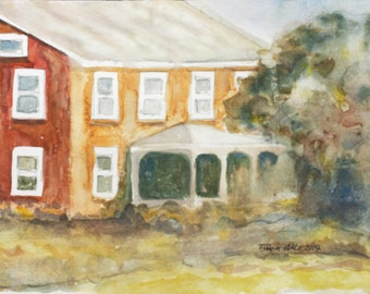 Farmhouse Watercolor Painting - Original Art - Bathroom Nursery Art