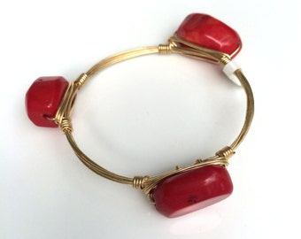 Red Coral (Flat) Wire Wrapped Bangle