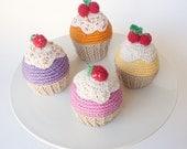 Set of 4 crochet cupcakes