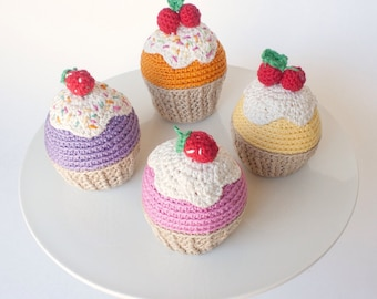 Set of 4 crochet cupcakes